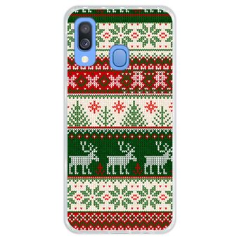 Capa Hapdey Para Samsung Galaxy A40 2019 Design Resumo Padrão de Natal Feliz Ano Novo Capa de Silicone Flexível Em TPU - Transparente