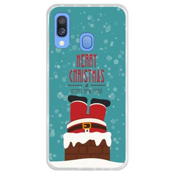 Capa Hapdey Para Samsung Galaxy A40 2019 Design Natal Pai Natal Está Descendo a Chaminé Capa de Silicone Flexível Em TPU - Transparente