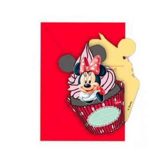 Conjunto 6 Convites Festa Minnie Disney Cafe