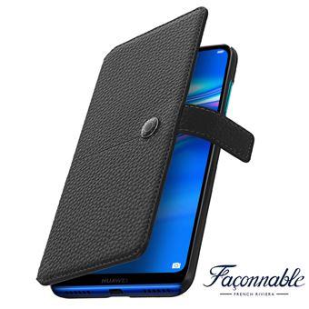 Capa Faconnable para Huawei Y7 2019 Carteira Efeito Grão Preto