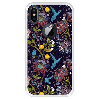 Capa Tpu Hapdey para Iphone X - Xs | Design Teste Padrão Floral com Pássaros 2 - Transparente