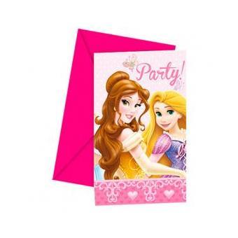 Conjunto 6 Convites Festa Princesas Disney Glamour