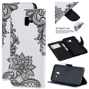 Capa Magunivers PU flor negra para Samsung Galaxy J6 Plus