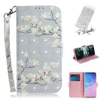 Capa Magunivers PU padrão de impressão spot decor flores brancas para Samsung Galaxy S10