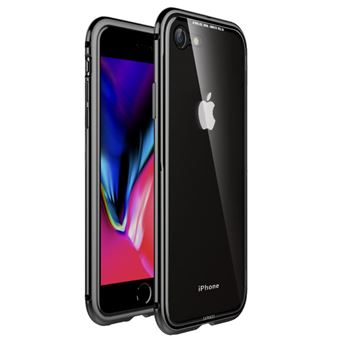 Capa Magunivers pára-choque de metal vidro com moldura preto para Apple iPhone 8/7 4.7 inch
