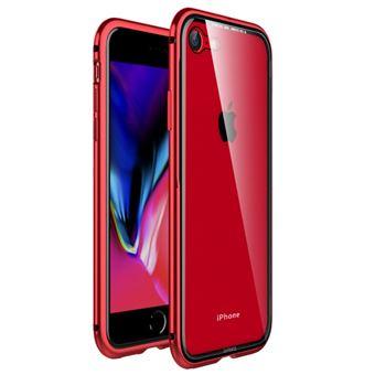Capa Magunivers pára-choque de metal vidro com moldura vermelho para Apple iPhone 8/7 4.7 inch