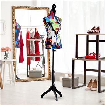 Manequim Feminino HOMCOM de Costura Busto de Senhora com Altura Ajustável a 130-168cm
