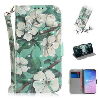 Capa Magunivers PU padrão de impressão spot decor belas flores para Samsung Galaxy S10