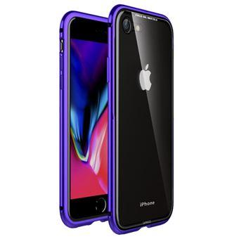 Capa Magunivers pára-choque de metal bordas vidro hard roxo para Apple iPhone 8/7 4.7 inch