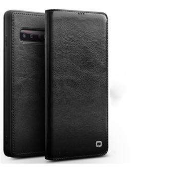 Capa Magunivers de couro genuíno suporte de cartão clássico preto para Samsung Galaxy S10