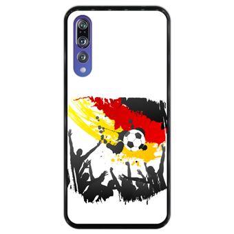Capa Hapdey para Huawei P20 Pro - P20 Plus Design Bandeira de Alemanha em Silicone Flexível e TPU Preto