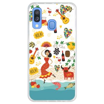 Capa Hapdey para Samsung Galaxy A40 2019 Design Símbolos de Espanha em Silicone Flexível e TPU