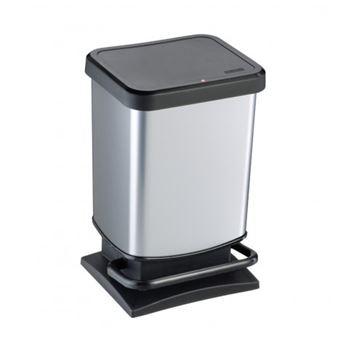 Caixote do Lixo Rotho 1754010264  20 l Retangular Metal, Plástico Preto, Prateado