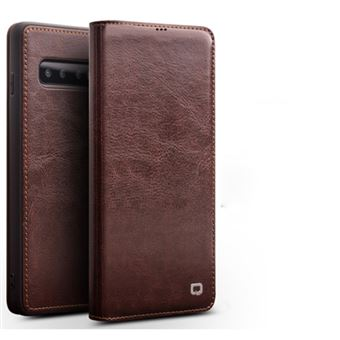 Capa Magunivers de couro genuíno suporte de cartão clássico marrom para Samsung Galaxy S10