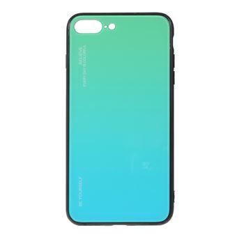 Capa TPU vidro de cor gradiente azul-ciano para Apple iPhone 8 Plus/7 Plus