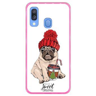 Capa Hapdey para Samsung Galaxy A40 2019 Design Pug Bebé Have a Sweet Christmas em Silicone Flexível e TPU Cor-de-Rosa