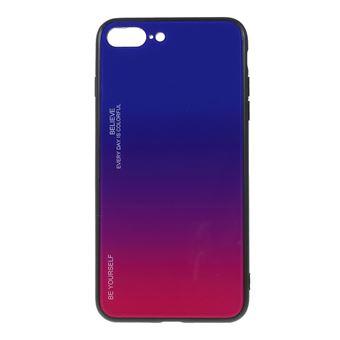 Capa TPU vidro de cor gradiente azul/rosa para Apple iPhone 8 Plus/7 Plus