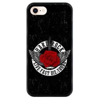 Capa Hapdey para iPhone 7 - 8 Design Hard Rock Live Fast, Die Young em Silicone Flexível e TPU Preto