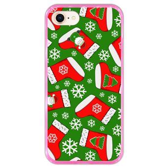 Capa Hapdey para iPhone 7 - 8 Design Padrão de Natal em Silicone Flexível e TPU Cor-de-Rosa
