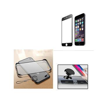 Kit Película de Vidro 5D Full Cover e Capa Naked Bumper com Suporte Magnético Carro Phonecare para iPhone 6 Plus - Preto / Transparente