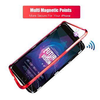 Capa Magunivers TPU multi armação 9H 2.5D vidro temperado preto/vermelho para Apple iPhone 8 Plus/7 Plus