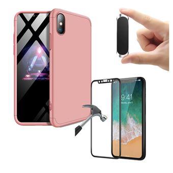 Kit Película + Capa Slim Armor 360º + Suporte Magnético PhoneShield Flexguard para iPhone X   Full Cover   Reaplicável  - Rosa