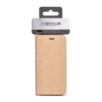Capa Vennus Flip Carteira para iPhone 7 / iPhone 8 Dourado Simples