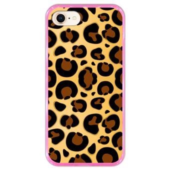 Capa Hapdey para iPhone 7 - 8 Design Leopardo em Silicone Flexível e TPU Cor-de-Rosa