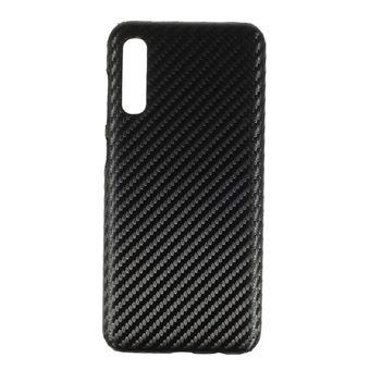 Capa TPU + PU fibra de carbono preta para Samsung Galaxy A50