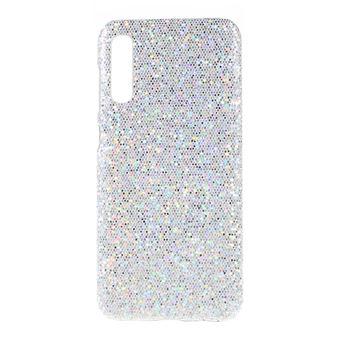 Capa TPU + PU lantejoulas brilhantes de prata para Samsung Galaxy A50