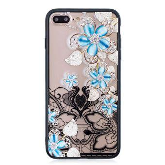 Capa Magunivers TPU 3D de strass Flor-azul para Apple iPhone 8 Plus/7 Plus 5.5 '