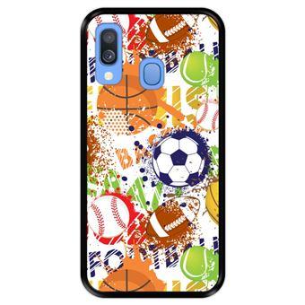 Capa Tpu Hapdey para Samsung Galaxy A40 2019 | Design Padrão de Esportes com Bolas 1 - Preto
