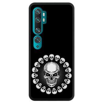 Capa Hapdey para Xiaomi Mi Note 10 - Note 10 Pro - CC9 Pro | Silicone Flexível em TPU | Design Escudo gótico com caveiras, grunge - Preto