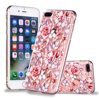 Capa TPU padrão de diamante 3D flores vivas para Apple iPhone 8 Plus/7 Plus