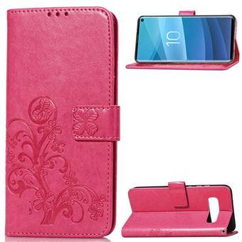 Capa Magunivers PU suporte de trevo rosa para Samsung Galaxy S10
