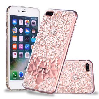 Capa TPU padrão de diamante 3D flor mandala para Apple iPhone 8 Plus/7 Plus