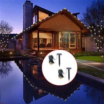 Luzes de Natal LED vidaXL solares 2 pcs branco quente