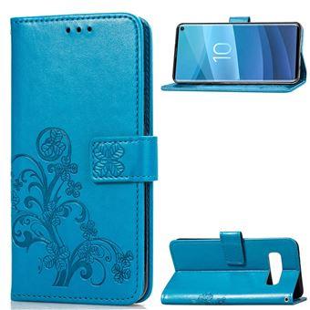 Capa Magunivers PU suporte de trevo azul para Samsung Galaxy S10