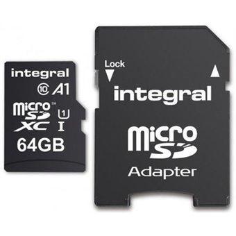 cartão de memória Integral 64GB microSDXC  Class 10 UHS-I Preto