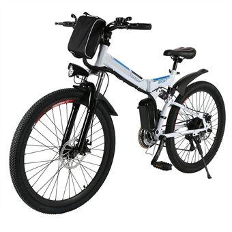Bicicleta Elétrica de Montanha Ancheer | Absorção de Choque UK | Plug Branco