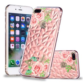 Capa TPU padrão de diamante 3D flores cor de rosa para Apple iPhone 8 Plus/7 Plus