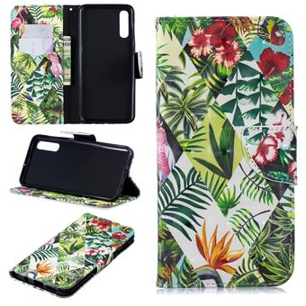 Capa PU Magunivers suporte para impressão de padrões flores e folhas para Samsung Galaxy A50