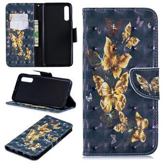 Capa PU Magunivers suporte para impressão de padrões borboleta de dourado para Samsung Galaxy A50