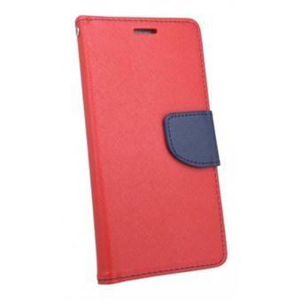 Capa Lmobile Flip Carteira / Livro Fancy para Huawei P Smart Azul Marinho/Vermelho
