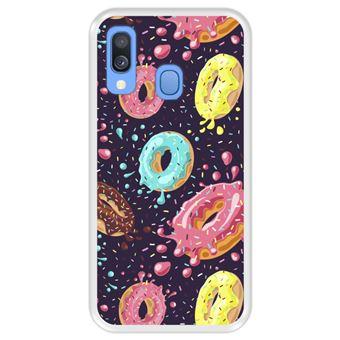 Capa Tpu Hapdey para Samsung Galaxy A40 2019   Design Donuts com Chocolate e Granulado Colorido 2 - Transparente