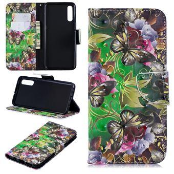Capa PU Magunivers suporte para impressão de padrões borboleta e flor para Samsung Galaxy A50