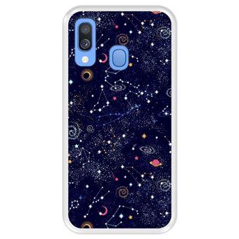 Capa Tpu Hapdey para Samsung Galaxy A40 2019 | Design Padrão de Constelação | Galáxia - Transparente