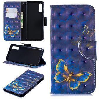 Capa PU Magunivers suporte para impressão de padrões borboleta azul para Samsung Galaxy A50