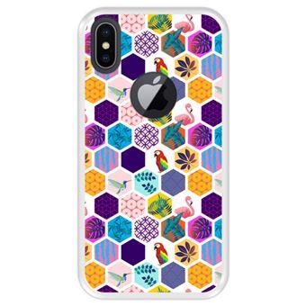 Capa Tpu Hapdey para Iphone X - Xs   Design Padrão Exótico   Pássaros e Flores - Transparente
