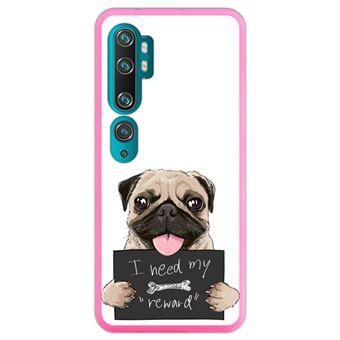 Capa Hapdey para Xiaomi Mi Note 10 - Note 10 Pro - CC9 Pro   Silicone Flexível em TPU   Design Filhote de Pug com sinal, preciso da minha recompensa - Rosa